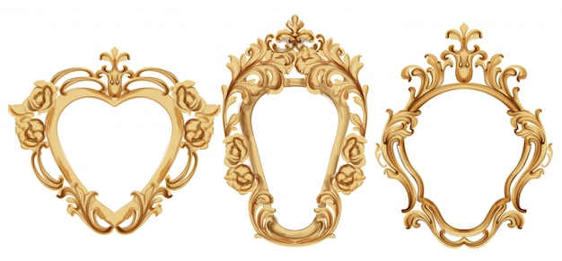 Barokowa luksusowa złota rama. elegancki wystrój lustra. bogate w ozdoby w stylu wiktoriańskim