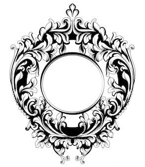 Barokowa wektorowa rocznik rama