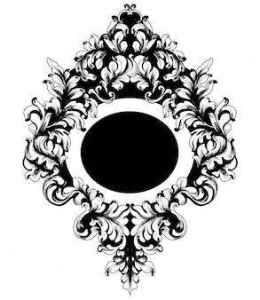 Barokowa zdobiona rama lustra