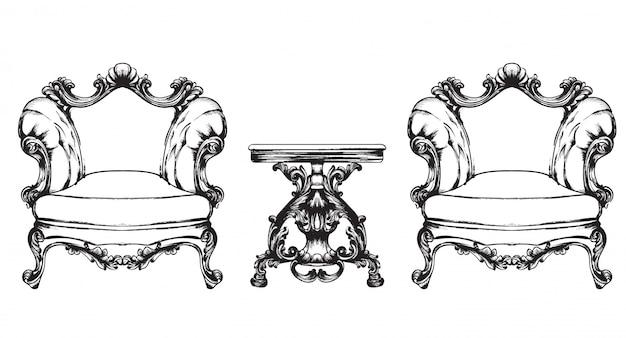 Barokowe fotele meblowe i stół