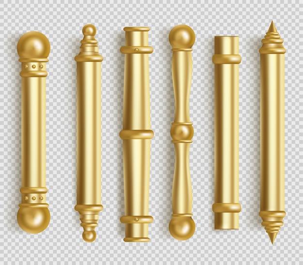 Barokowe złote klamki do wnętrz w biurze lub w domu. realistyczny zestaw vintage złote długie gałki do drzwi. bar uchwyty kształt z kulkami na białym tle