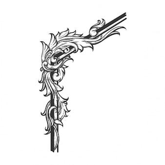 Barokowy ornament kwiatowy na obramowanie i narożnik.