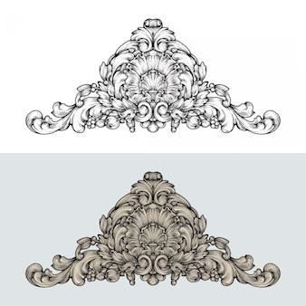 Barokowy ornament rokokowy z ręcznie rysowanym grawerem