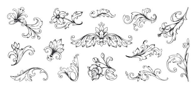 Barokowy ornament vintage kwiatowy elementy obramowania grawerowane liście i filigranowa arabeska ramki