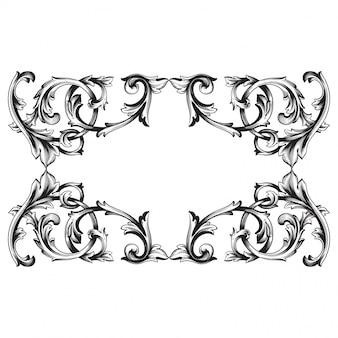 Barokowy ornament z filigranową ramką, wzór.