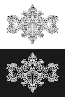 Barokowy rokoko w ornament rysunek ręka