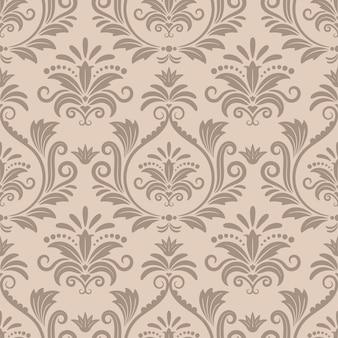 Barokowy wzór wektor bez szwu. ozdobny projekt tkaniny retro, krzywa wiktoriańska beżowa ilustracja
