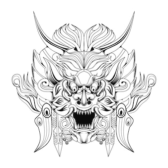 Barong balijska kultura czarno-biała ilustracja grafiki