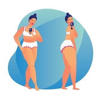 Barwi ilustrację tłuściuchna dziewczyna bierze selfie. nowoczesny plakat o ciele pozytywnym. dziewczyna plus size robi sobie zdjęcie w lustrze. dziewczyna w bieliźnie pozuje z smartphone