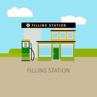 Barwiona budynek stacji benzynowej ilustracja