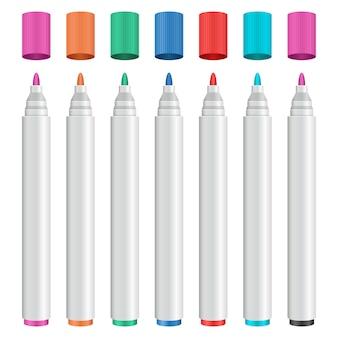 Barwionego markiera projekta ustalona ilustracja odizolowywająca na białym tle
