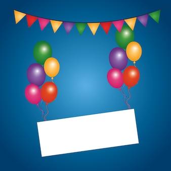 Barwioni latanie balony opróżniają deskę banderki dekorację