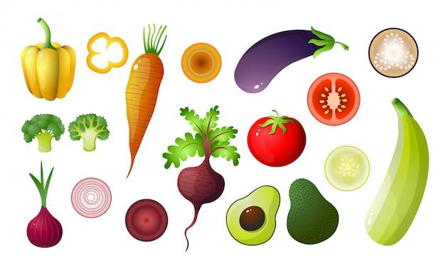 Barwioni warzywa ustawiający na białym tle