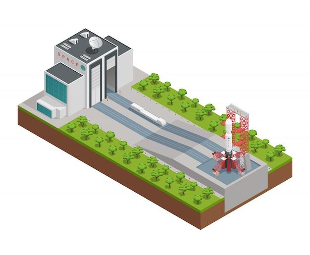 Barwiony 3d rakiety isometric skład z projektem dla naprawy i budowy rakiet wektoru ilustracja