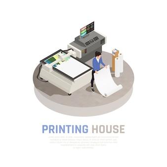 Barwiony i isometric drukowego domu poligrafii skład z pracodawcą poligrafii biurowa wektorowa ilustracja