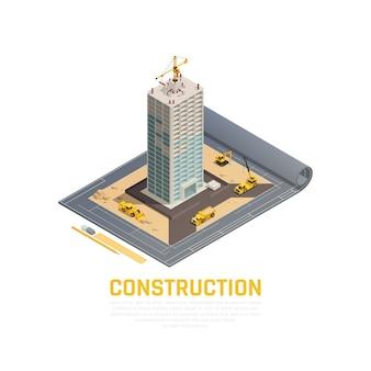 Barwiony i isometric ikony budowy sztandar z 3d planem budowa budynku wektoru ilustracja