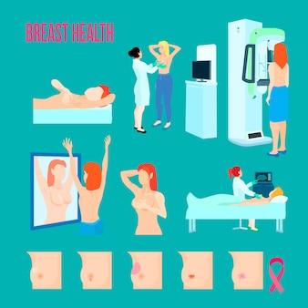 Barwna płaska i izolowana ikona choroby piersi z różnymi chorobami i sposobami leczenia i rozpoznawania chorób