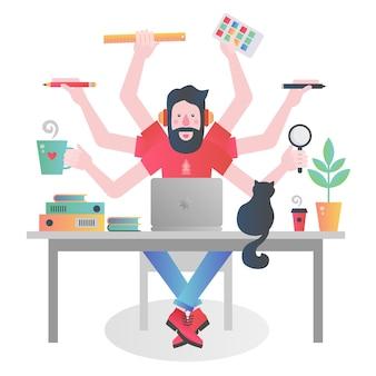 Barwna postać człowieka z wieloma rękami trzymającego różne rzeczy i zarządzającego czasem podczas pracy przy stole z laptopem