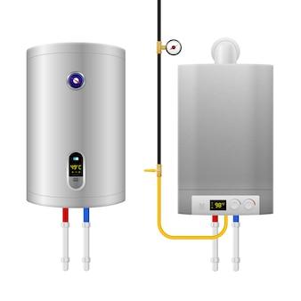 Barwna realistyczna kompozycja kotła podgrzewacza wody z dwoma izolowanymi i różnymi urządzeniami i rurami