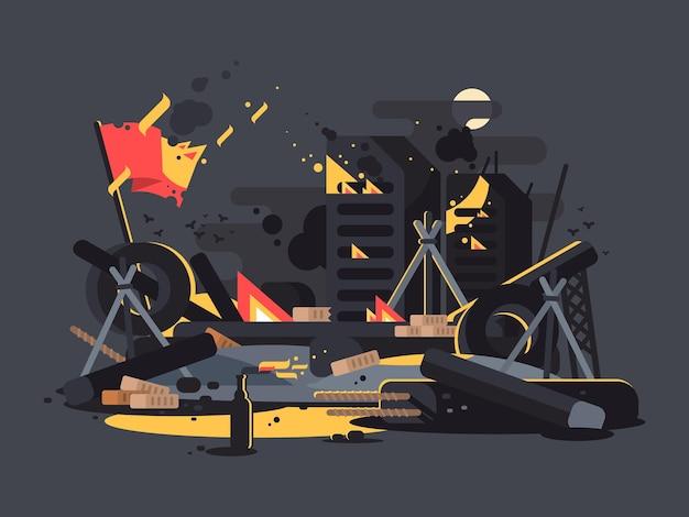 Barykady w ogniu. kupa gruzu, opon i koktajli mołotowa. ilustracja wektorowa