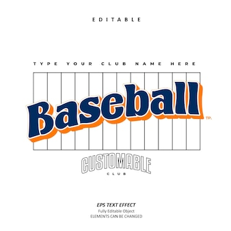 Baseball club name emblemat efekt tekstowy edytowalny wektor premium