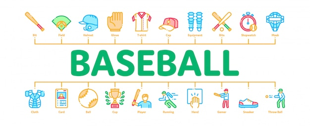 Baseball game tools minimal infographic banner