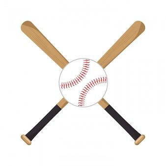 Baseball piłka nietoperzy skrzyżowane ikony