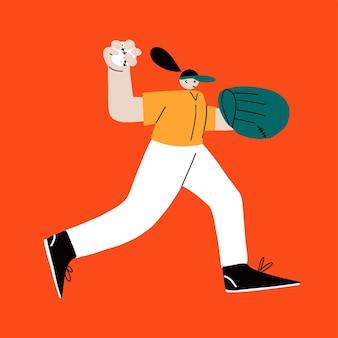 Baseball softball dziewczyna gracz postacie młoda wesoła sportowa kobieta gra w baseball