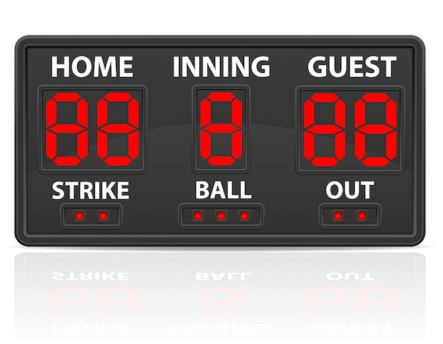 Baseball sport cyfrowy tablica wyników ilustracji wektorowych