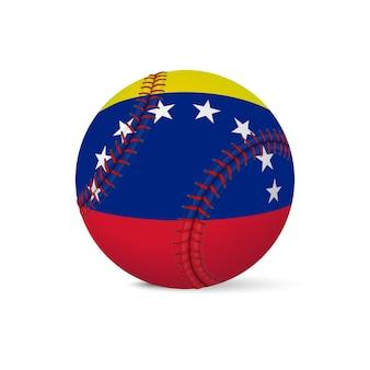 Baseball z flagą wenezueli, na białym tle.