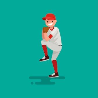 Baseballa miotacza gracz rzuca balową ilustrację