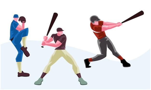 Baseballiści w softballu w różnych pozach. skalowalna i edytowalna ilustracja