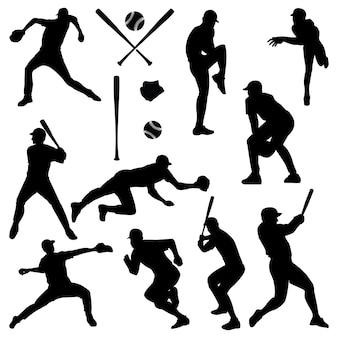 Baseballista czarna sylwetka
