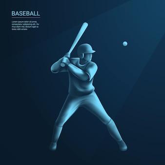 Baseballista uderzający w baseball na neonie