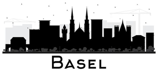 Basel szwajcaria city skyline sylwetka z czarnymi budynkami na białym tle. ilustracja wektorowa. podróże służbowe i koncepcja turystyki z zabytkową architekturą. bazylea gród z zabytkami.
