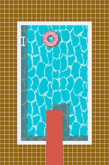 Basen z dmuchanym kółkiem w kształcie pączka i trampoliną do skoku. ilustracja wektorowa.