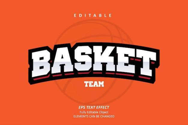 Basket team orange edytowalny efekt tekstowy