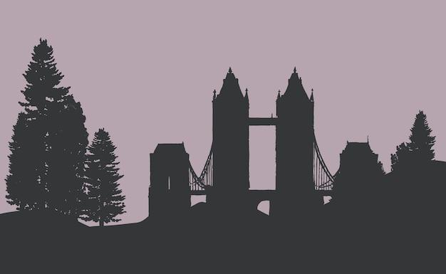 Basztowy most w lasowym wektorze