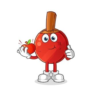 Bat tenis stołowy jedzenie jabłka ilustracji. postać