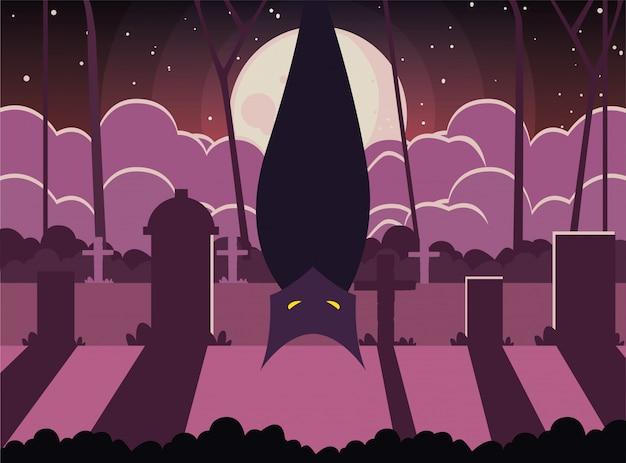 Bat w scenie halloween