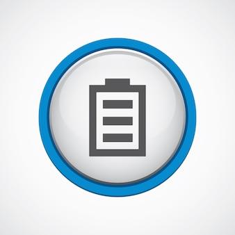 Bateria błyszcząca z niebieską ikoną obrysu, koło, na białym tle