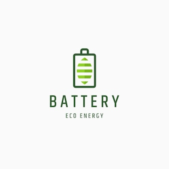 Bateria i liść eko natura energia logo ikona wektor szablon projektu