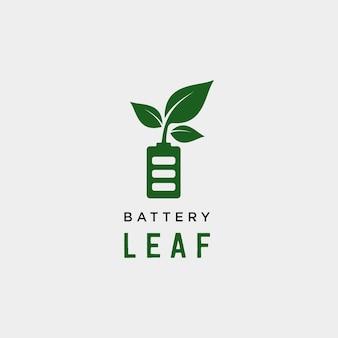 Bateria liść eko natura energia odnawialne proste logo szablon wektor ilustracja - wektor