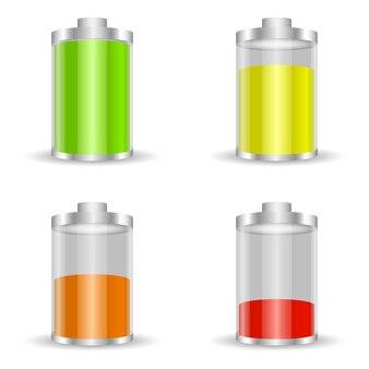 Bateria z różnymi obciążeniami i kolorami ikona baterii