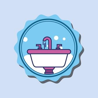 Baterie umywalkowe bąbelki łazienka transparent kreskówka