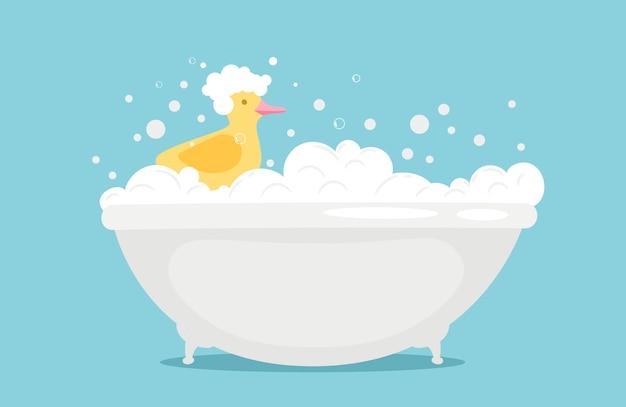 Bathtime ilustracja z mydlaną pianką i żółtą gumową kaczką