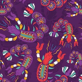 Batik krewetki bezszwowe tło wzór