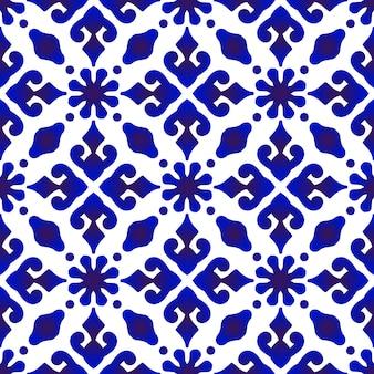 Batikowy niebieski wzór