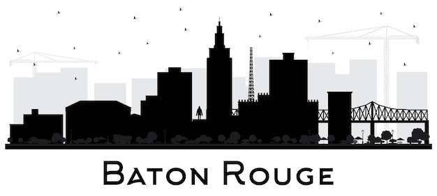 Baton rouge luizjana sylwetka panoramę miasta z czarnymi budynkami na białym tle wektor