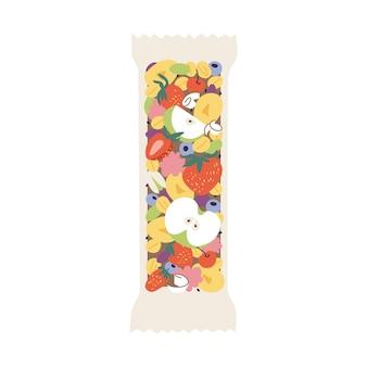 Batonik musli z różnymi owocami, jagodami, owocami i orzechami. organiczna i zdrowa przekąska.